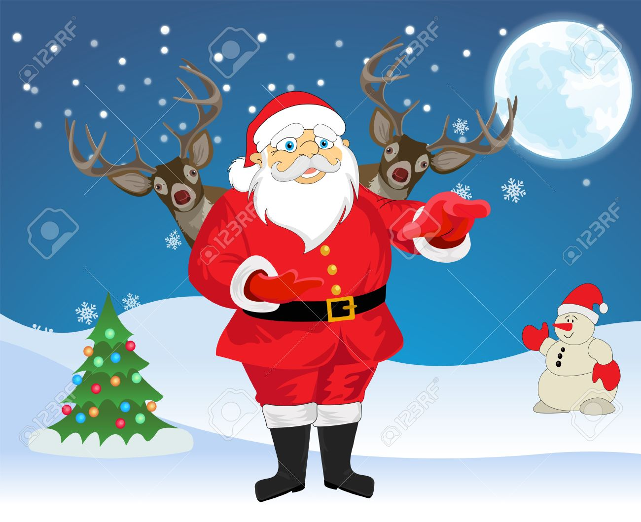 santa claus and 2 reindeer in blue and white background with christmas tree snowman - Santa Snowman 2