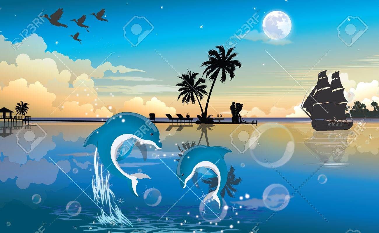 Moonlit Night at the Beach, with Blue and White Dolphins, Couple, Bubbles, Vintage Ship, vector illustration Stock Vector - 22067003