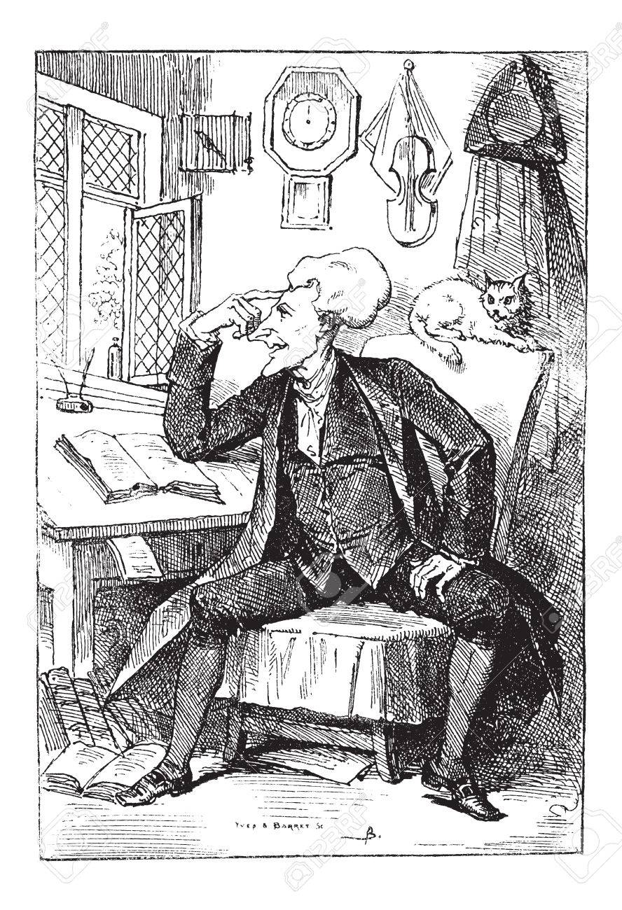 Doctor Syntax Reflecting On His Book Readings By Thomas Rowlandson Vintage Engraved Illustration