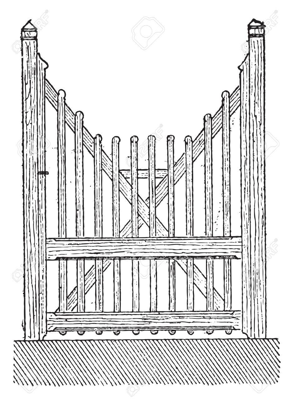 Old engraved illustration of the openwork barrier door isolated on a white background. Dictionary of  sc 1 st  123RF.com & Old Engraved Illustration Of The Openwork Barrier Door Isolated ...
