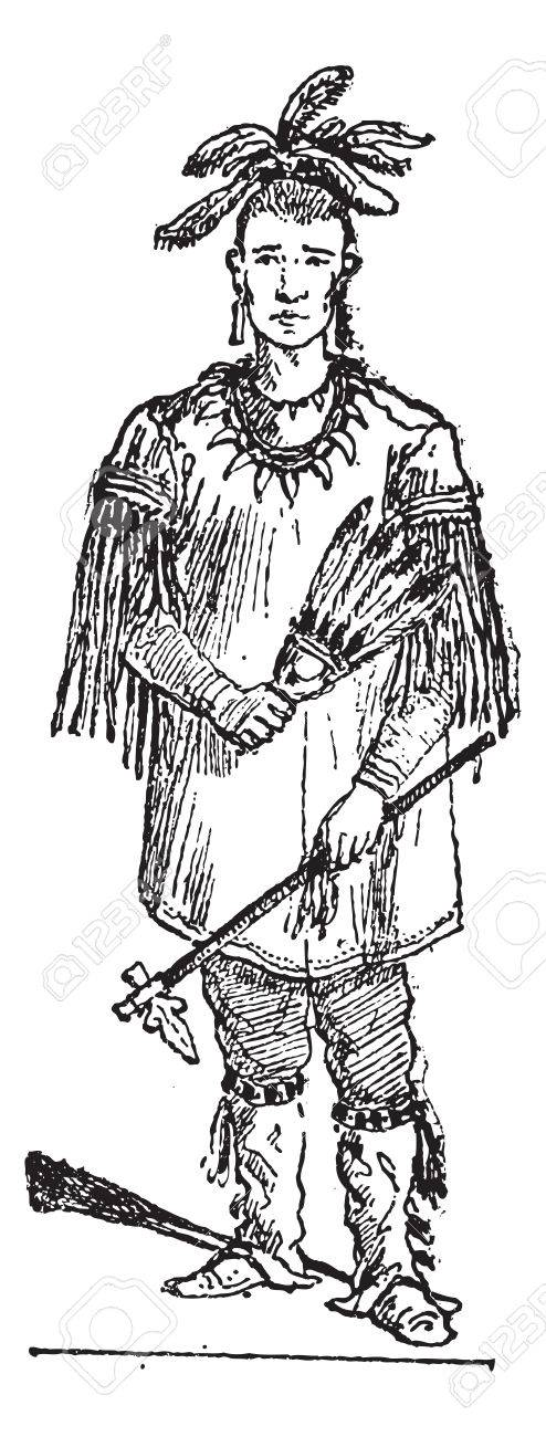Old engraved illustration of Sioux person standing. Dictionary of words and things - Larive and Fleury - 1895 - 35185119