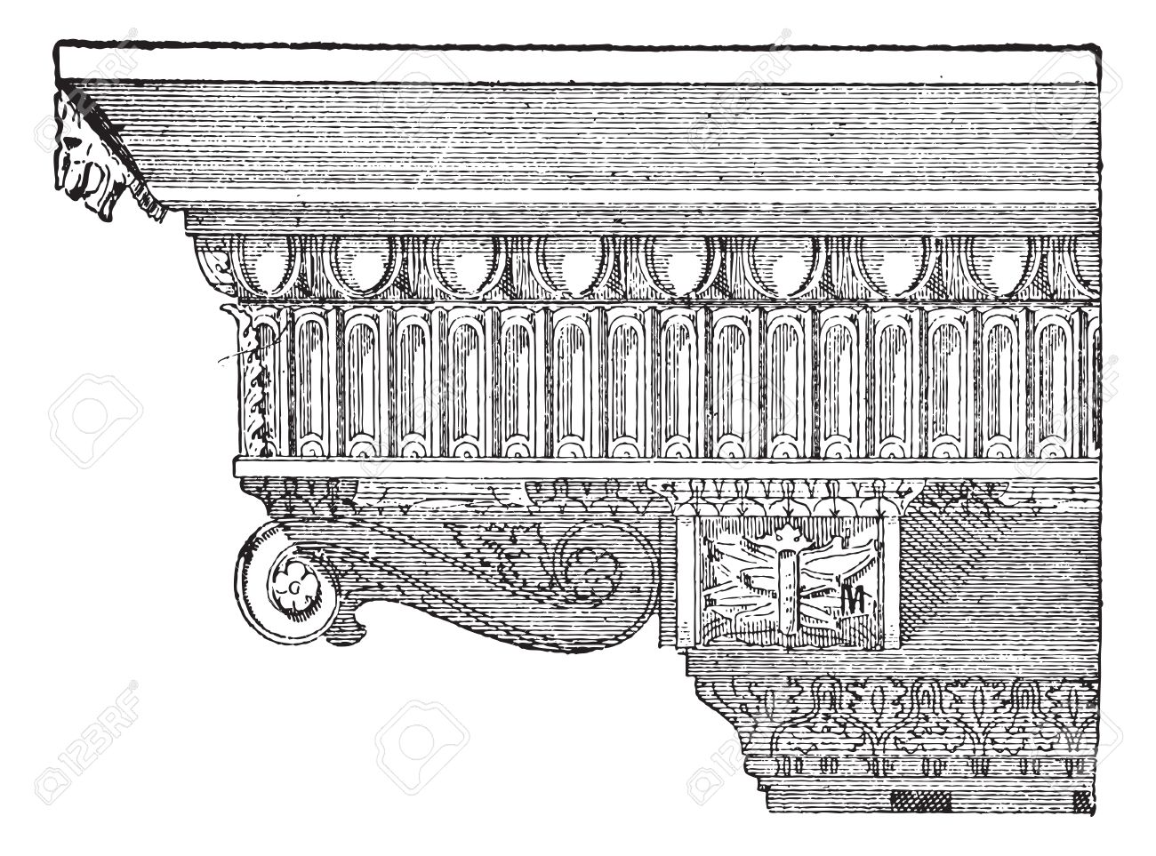 Corbel Forming An Entablature At The Temple Of Jupiter In Rome Italy