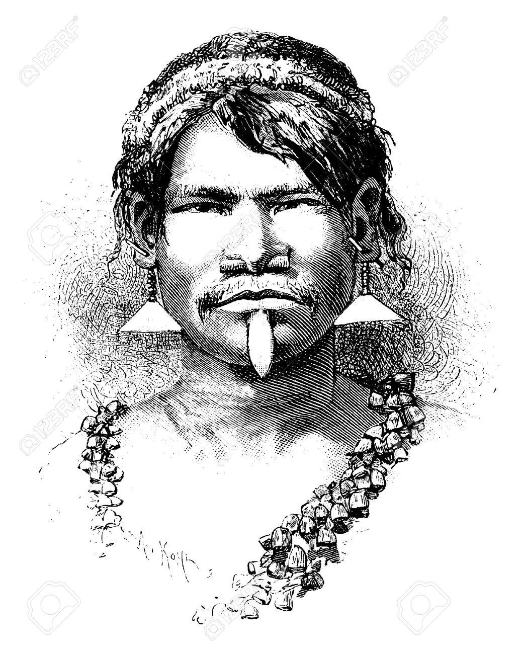 Carijona Indian of Amazonas, Brazil, drawing by Riou from a photograph, vintage engraved illustration. Le Tour du Monde, Travel Journal, 1881 - 37387048