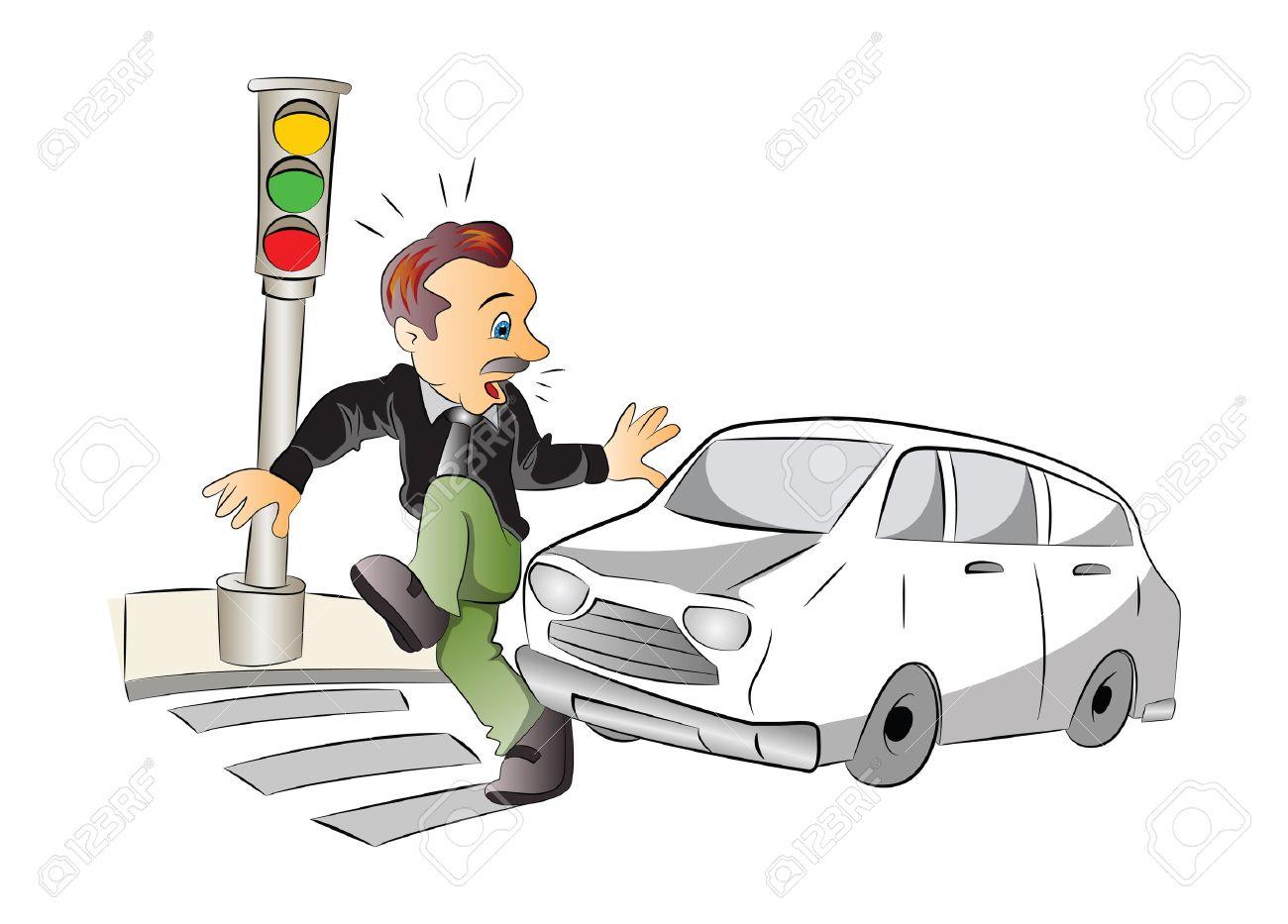 Seguridad Vial, Hombre A Punto De Ser Atropellado Por Un Coche, Ilustración Vectorial Ilustraciones Vectoriales, Clip Art Vectorizado Libre De Derechos. Image 37602461.