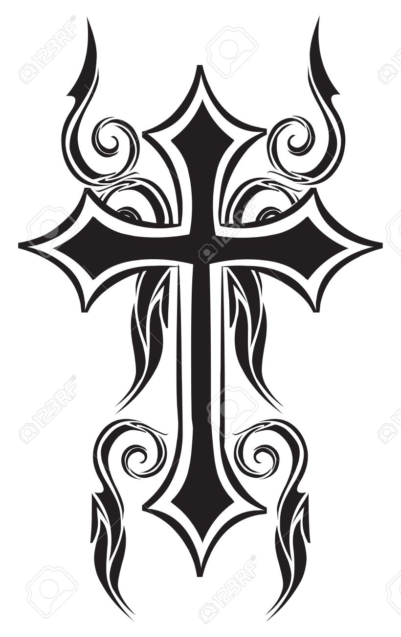 tattoo design of christian cross vintage engraved illustration rh 123rf com Cross Stitch Tattoo Cross Tattoos for Women