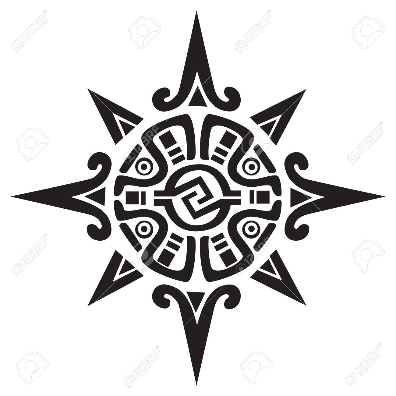 Symbole Maya Inca Ou D Un Soleil Ou Etoile Isole Sur Blanc Grande