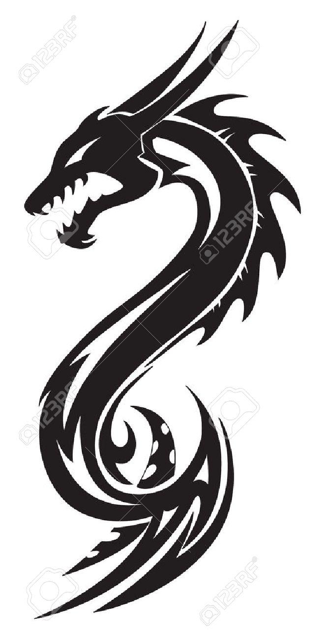 Dragon Tattoo Design Vintage Engraved Illustration