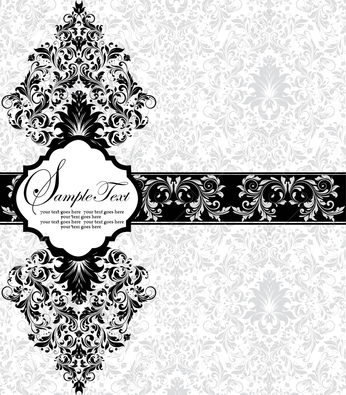 Vintage invitation card with ornate elegant retro abstract floral invitation card with ornate elegant retro abstract floral design black flowers and leaves on pale green and white background with ribbon vector stopboris Image collections