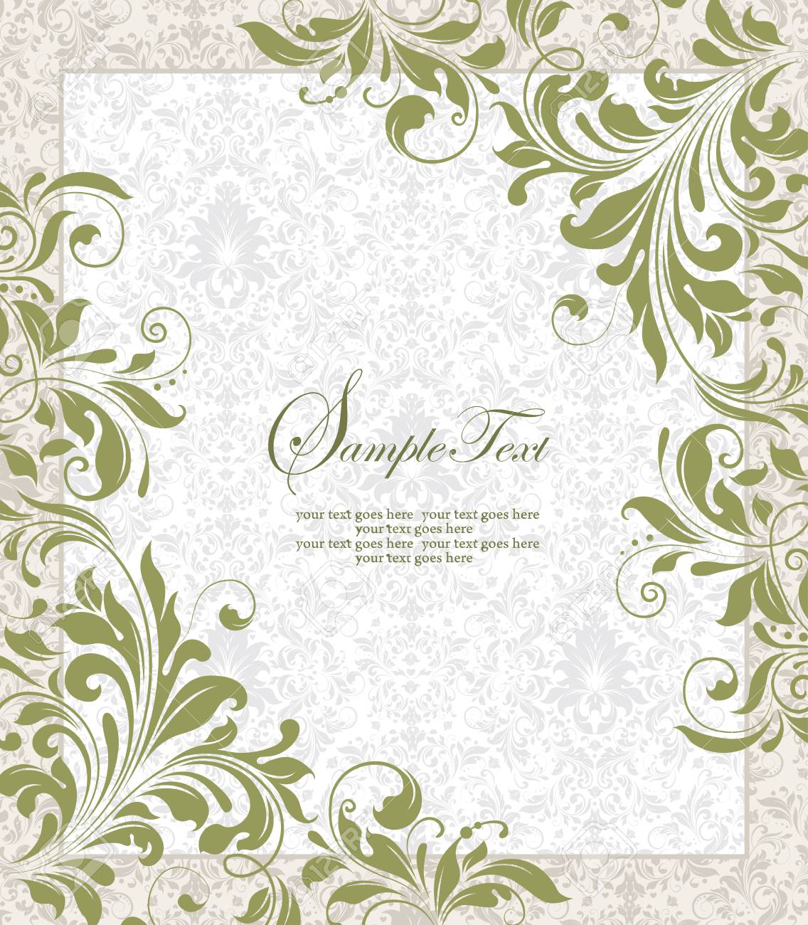 Vintage invitation card with ornate elegant retro abstract floral imagens vintage invitation card with ornate elegant retro abstract floral design olive green flowers and leaves on faded green and white background with stopboris Choice Image