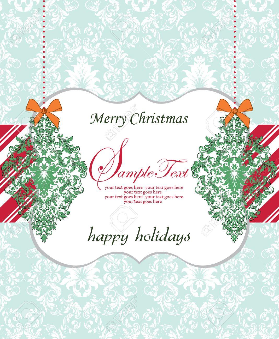 tarjeta de navidad del vintage con diseo adornado elegante retro abstracto floral flores verdes y