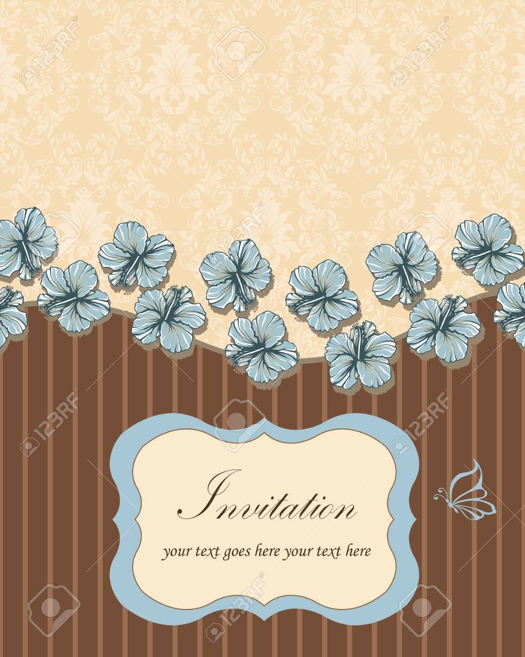 Vintage invitation card with ornate elegant retro abstract floral banco de imagens vintage invitation card with ornate elegant retro abstract floral design light blue hibiscus flowers on pale yellow and chocolate brown stopboris Image collections