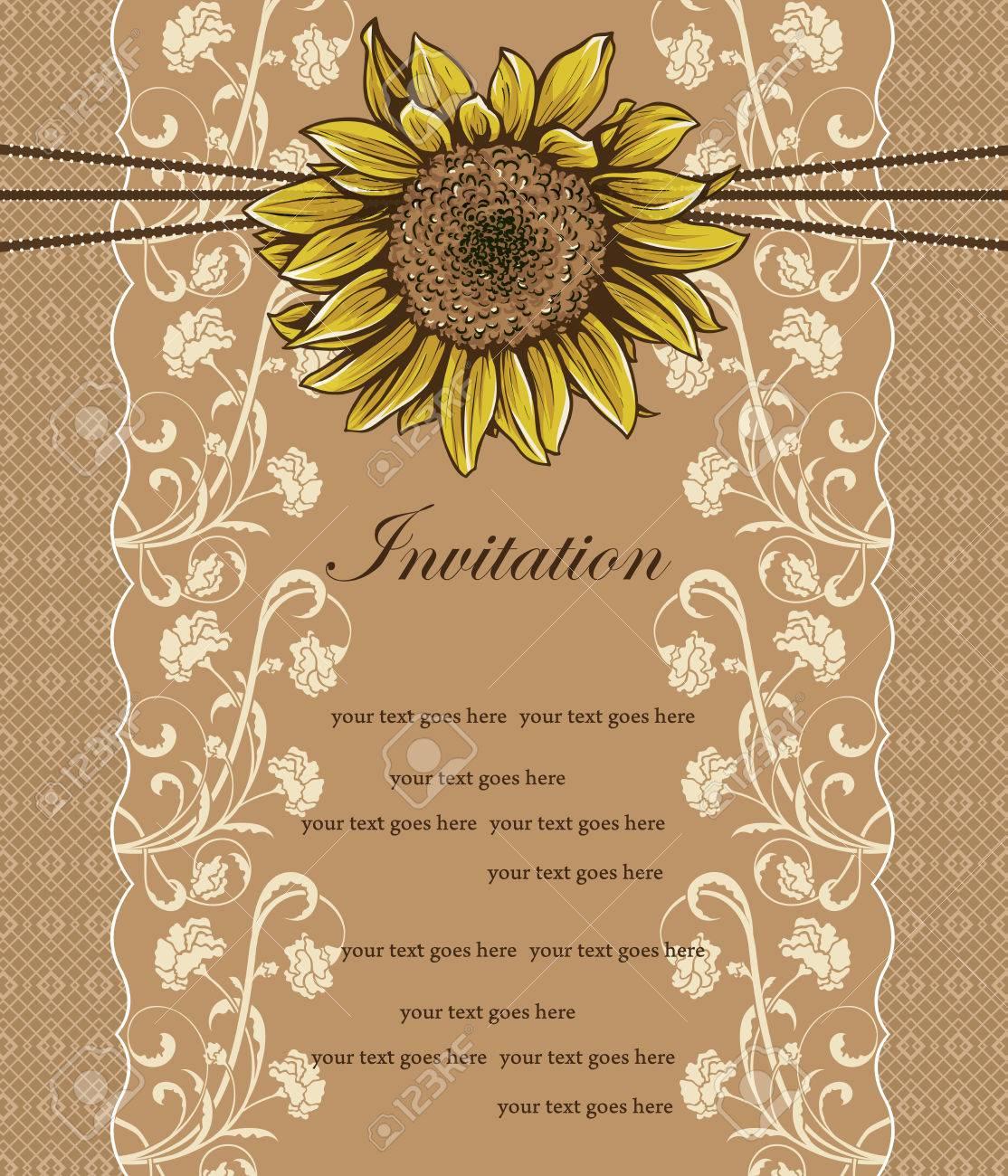 Tarjeta De Invitación De La Vendimia Con El Diseño Adornado Elegante Retro Abstracto Floral Girasol Amarillo Y Flores De Color Beige Y Hojas Sobre