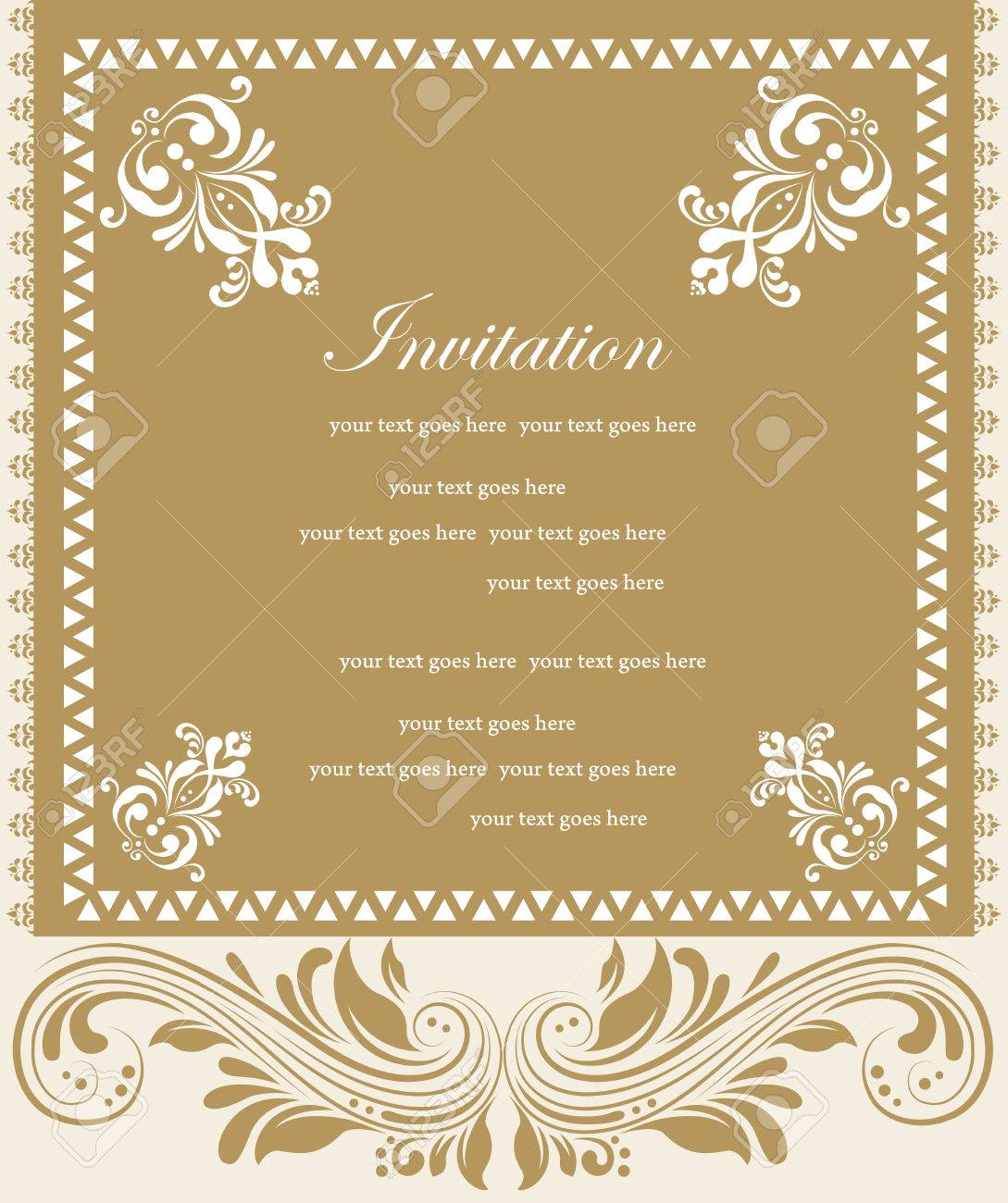 Vintage invitation card with ornate elegant retro abstract floral beige and light brown flowers and leaves on light brown and beige background with frame borders and text label vector illustration vintage invitation stopboris Choice Image
