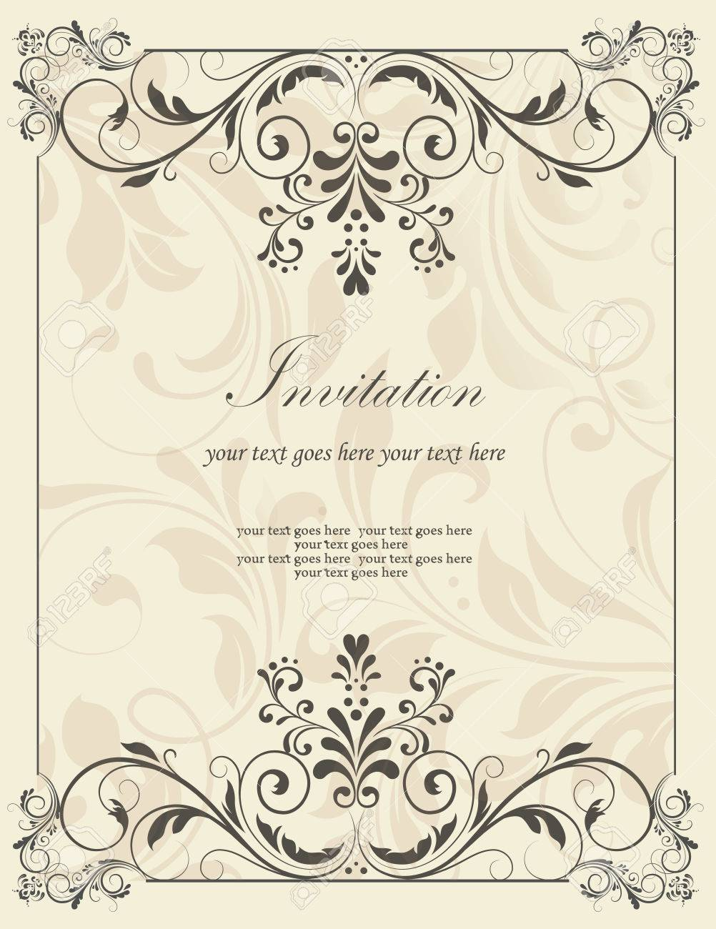 Vintage invitation card with ornate elegant retro abstract floral vector vintage invitation card with ornate elegant retro abstract floral design dark gray flowers and leaves on light gray background with frame borders stopboris Images