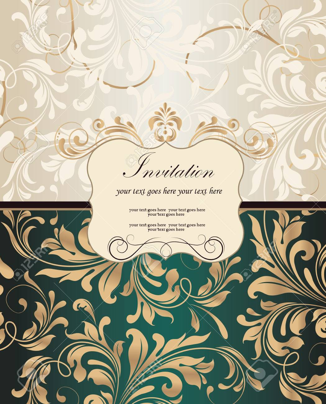 Abstract Floral Design Gold And Beige Flowers Leaves On Light Gray Dark Emerald Green Background With Plaque Text Label Vector Illustration
