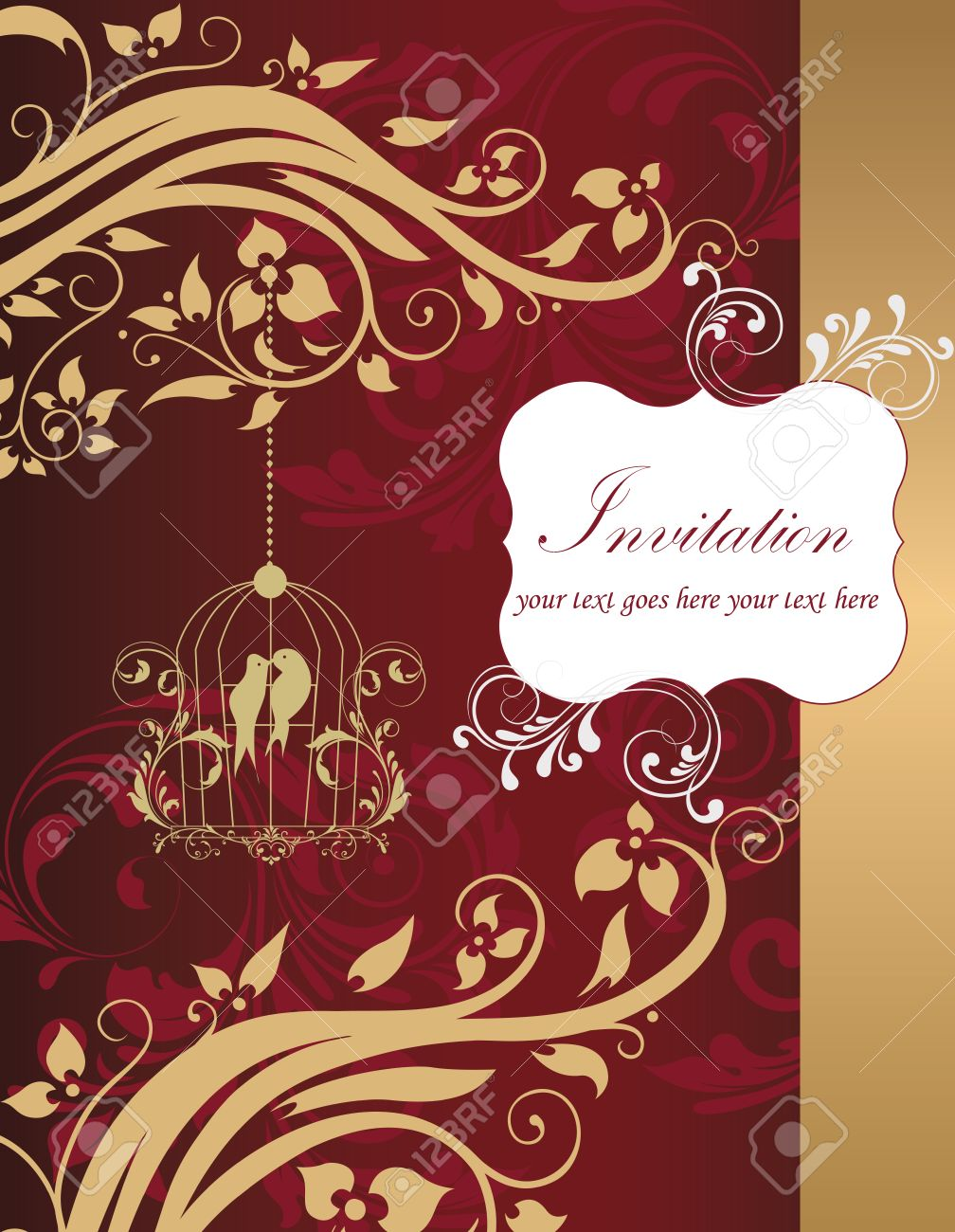 Vintage Invitation Card With Ornate Elegant Retro Abstract Floral
