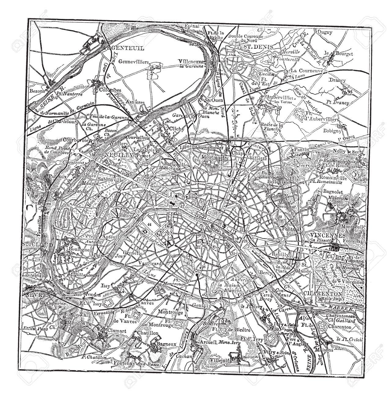 古い附近パリ地図のイラストが刻まれましたのイラスト素材ベクタ
