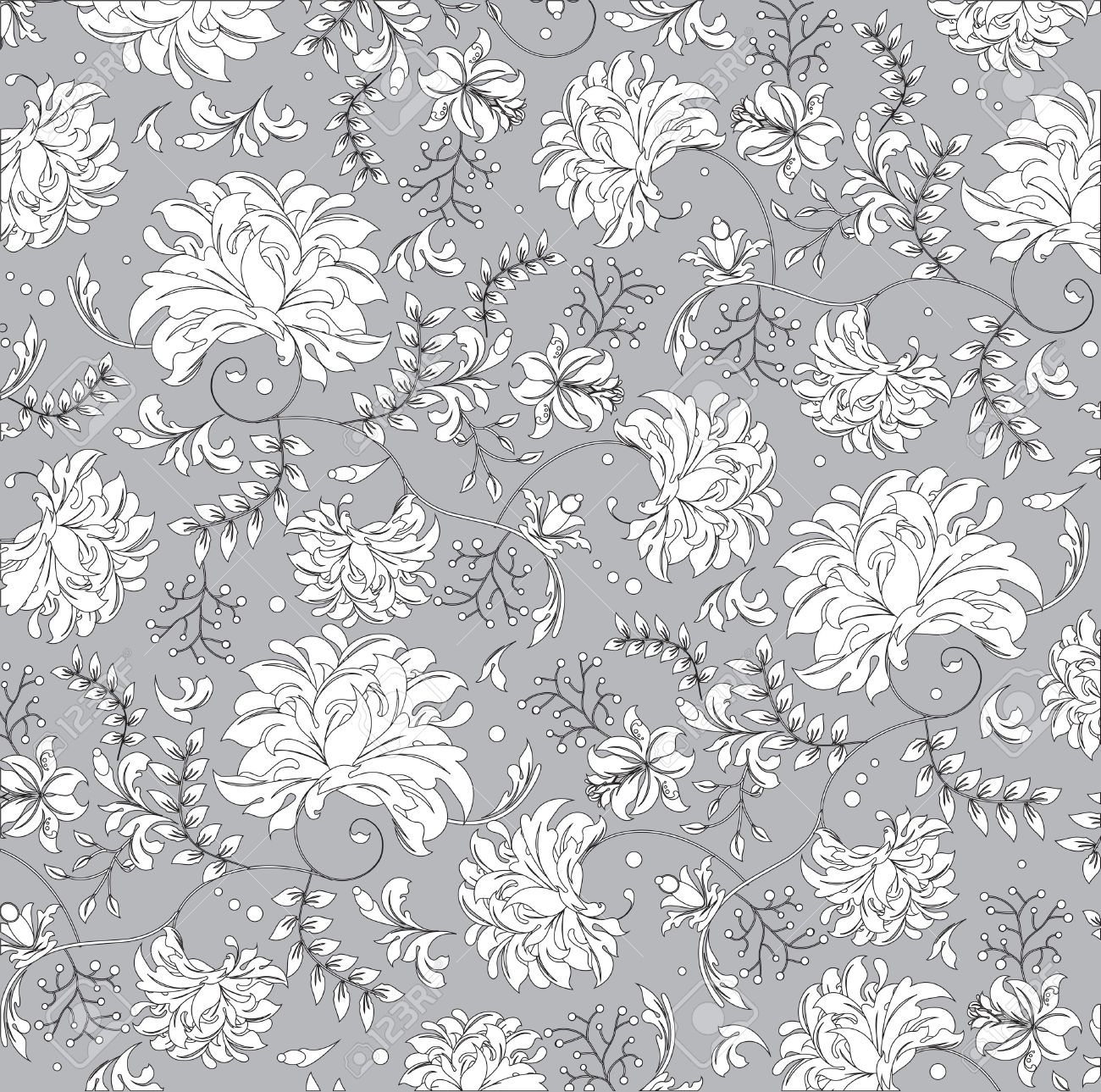 Vintage Background With Ornate Elegant Abstract Floral Design White Flowers On Gray Vector Illustration