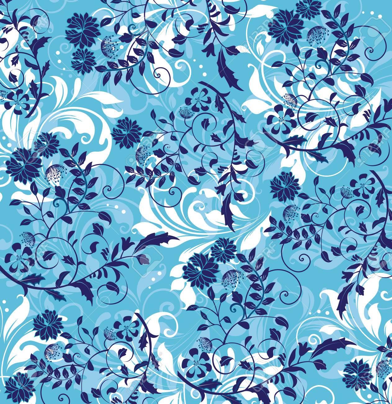 Vintage background with ornate elegant abstract floral design vector vintage background with ornate elegant abstract floral design midnight blue and white flowers on light blue vector illustration izmirmasajfo