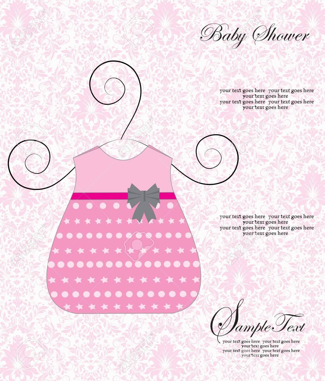 Vintage Tarjeta De Invitación Baby Shower Con Diseño Adornado Elegante Retro Abstracto Floral Vestido Rosa Con Cinta Gris En Color Rosa Pálido Y