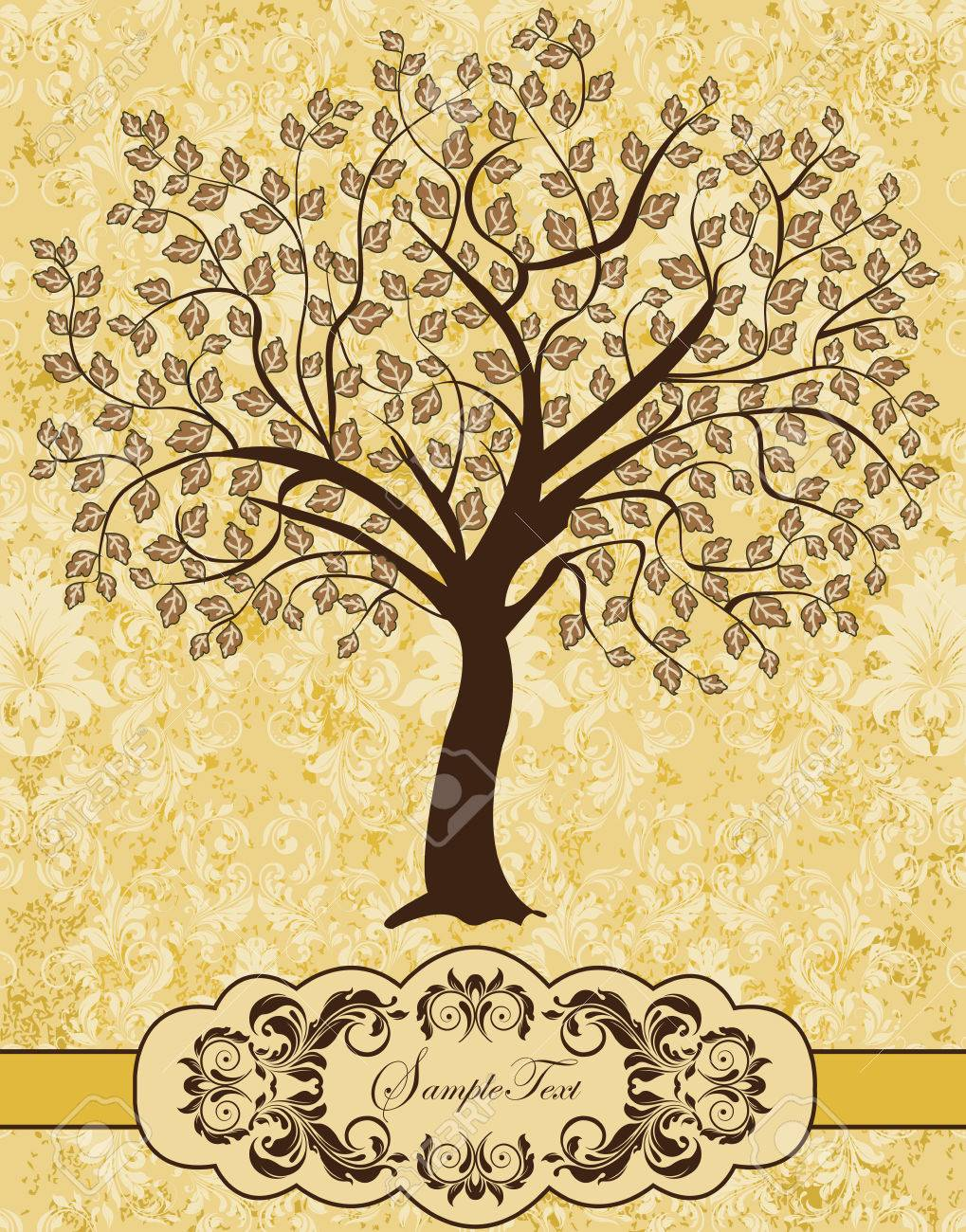 Vintage invitation card with ornate elegant retro abstract floral imagens vintage invitation card with ornate elegant retro abstract floral tree design brown tree on pastel yellow background with ribbon vector stopboris Images