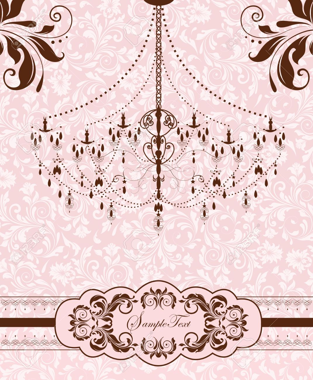 Vintage invitation card with ornate elegant abstract floral design vector vintage invitation card with ornate elegant abstract floral design chocolate brown flowers on pale pink and white background with chandelier stopboris Images