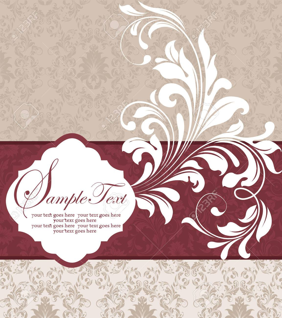 Vintage invitation card with ornate elegant abstract floral design imagens vintage invitation card with ornate elegant abstract floral design white flowers on gray and tan background with royal red ribbon vector stopboris Image collections