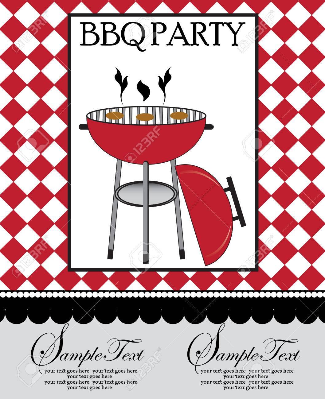 vintage barbecue party invitation card with ornate elegant retro