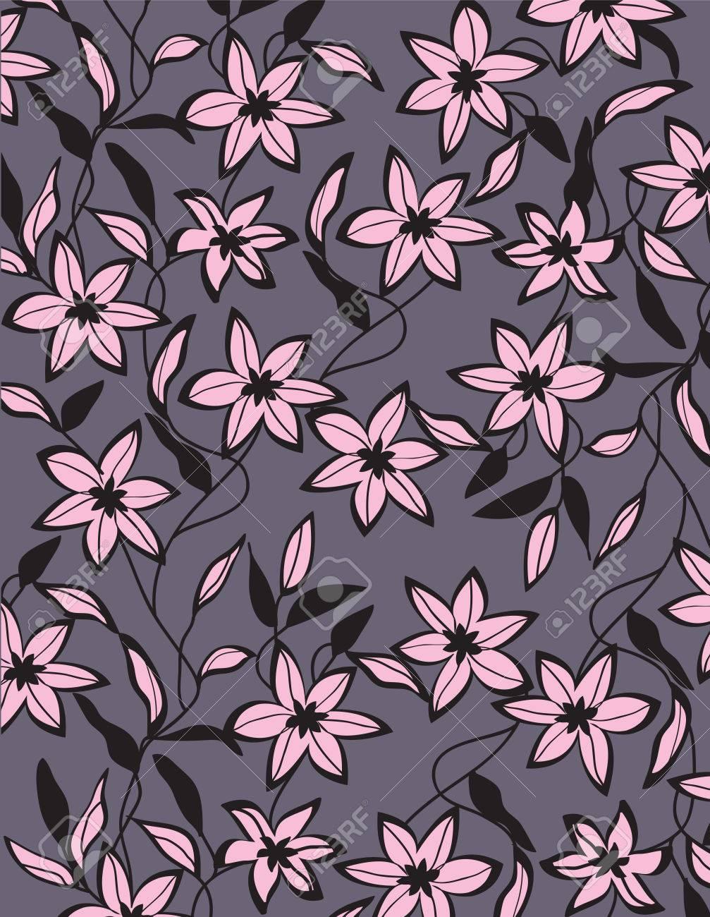 Sfondo Vintage Con Ornato Elegante Retrò Disegno Floreale Astratto Fiori Rosa E Neri E Foglie Su Sfondo Viola Grigio Illustrazione Vettoriale