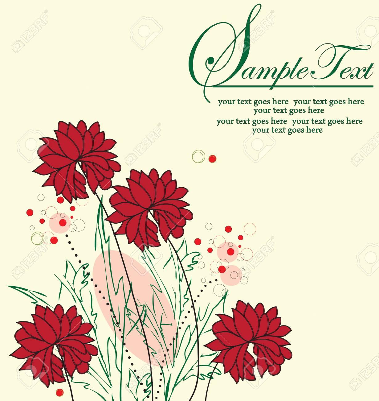 Vintage Wedding Invitation Card With Elegant Retro Floral Design ...