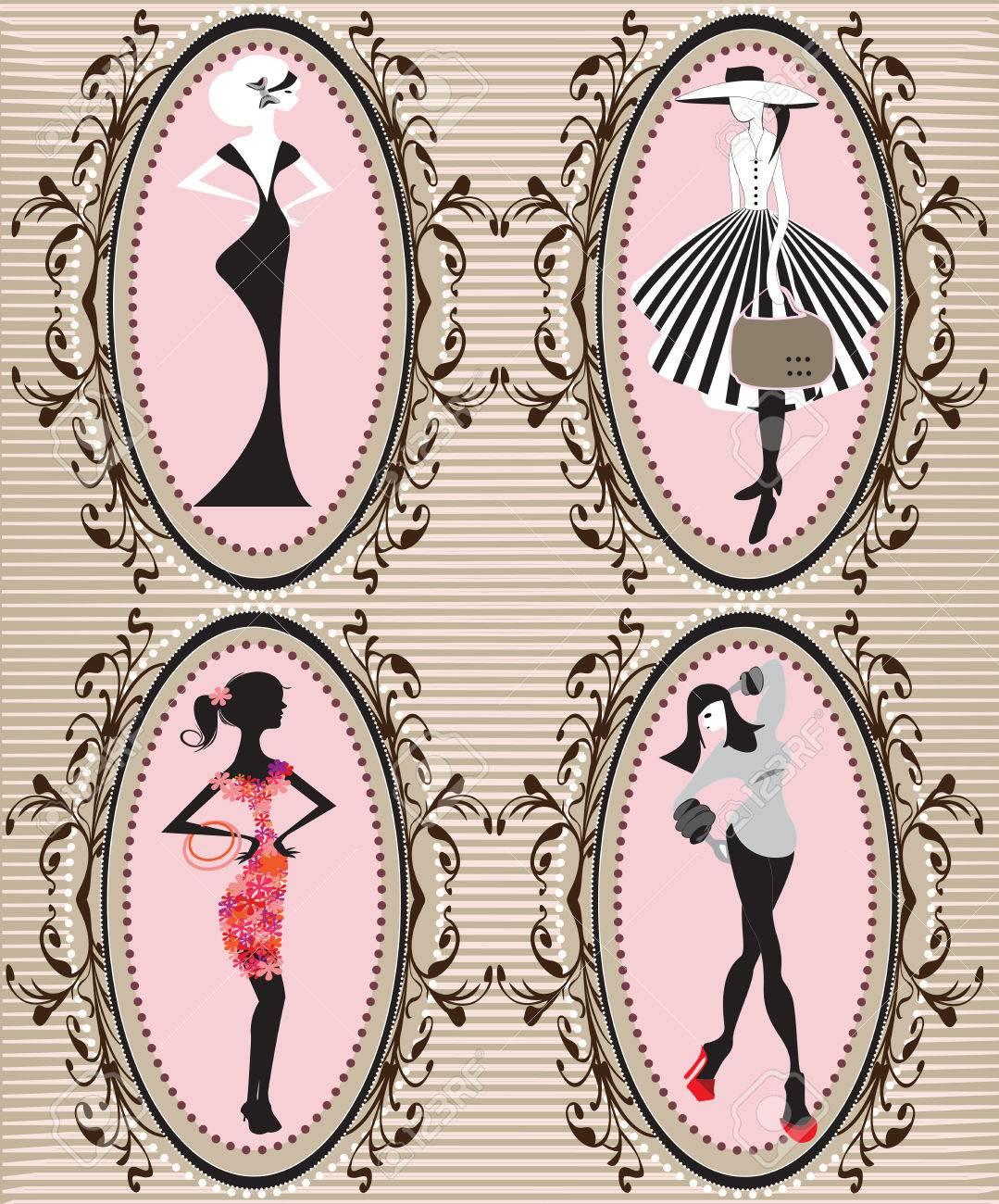4892592e921a5 Conjunto de cuatro (4) marcos rectangulares de época con elegante diseño  floral abstracto retro