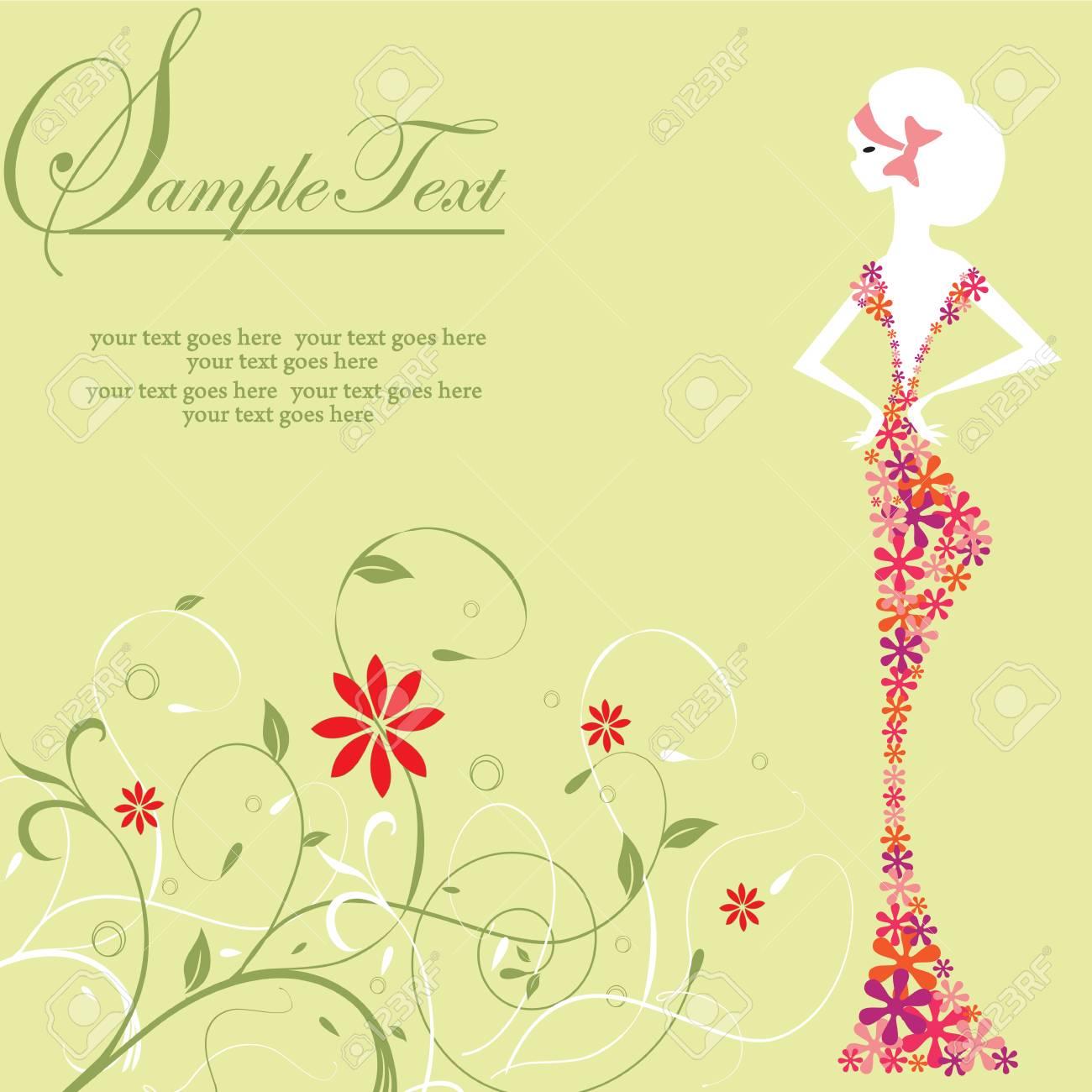 Tarjeta De Invitación De La Vendimia Con El Elegante Diseño Retro Abstracto Floral Mujer Con Vestido De Flores En Verde Ilustración Del Vector