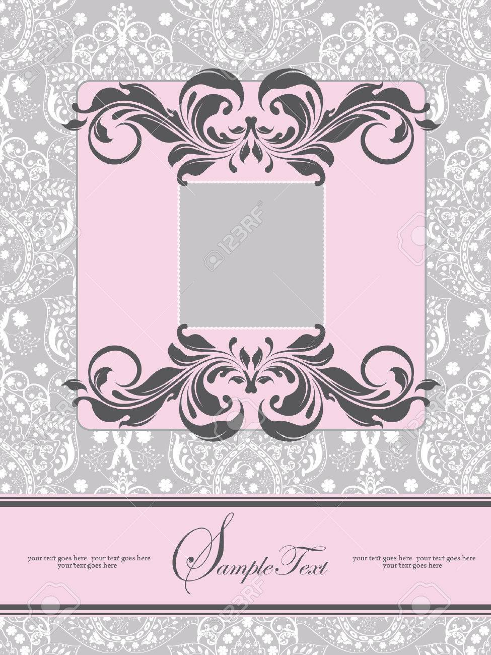 Vintage wedding invitation card with ornate elegant abstract vector vintage wedding invitation card with ornate elegant abstract floral design pink and gray with ribbon vector illustration stopboris Gallery