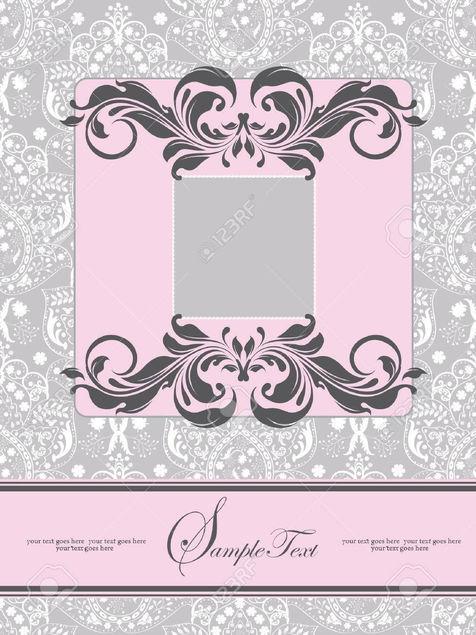 Vintage Wedding Invitation Card With Ornate Elegant Abstract