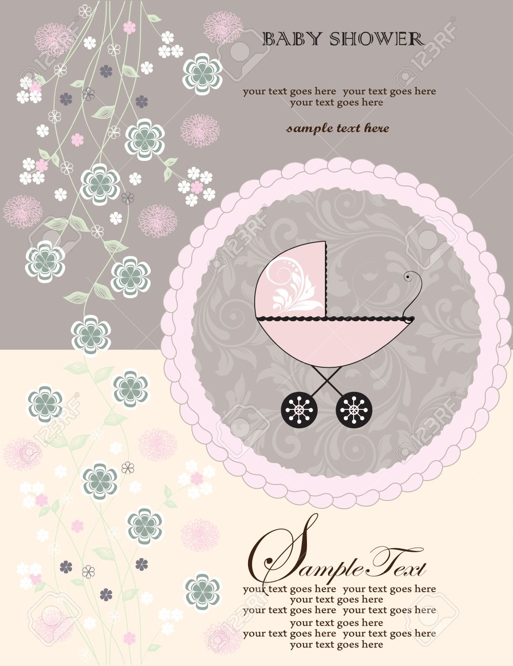 vintage baby shower invitation card with ornate elegant retro abstract floral design pink and green