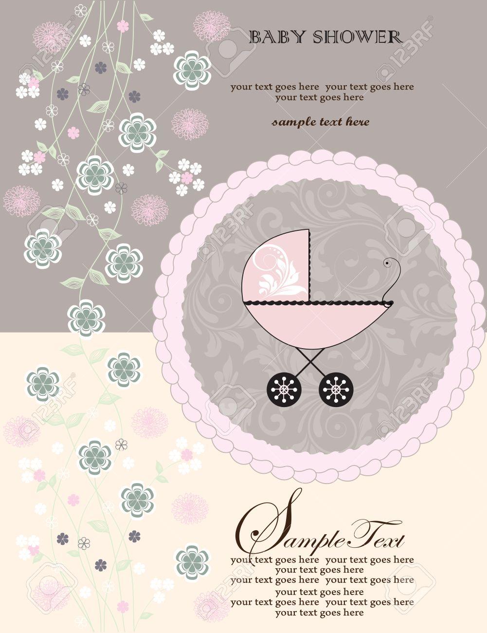 Vintage Tarjeta De Invitación Baby Shower Con Diseño Adornado Elegante Retro Abstracto Floral Flores Rosadas Y Verdes En Color Amarillo Pálido Y Gris
