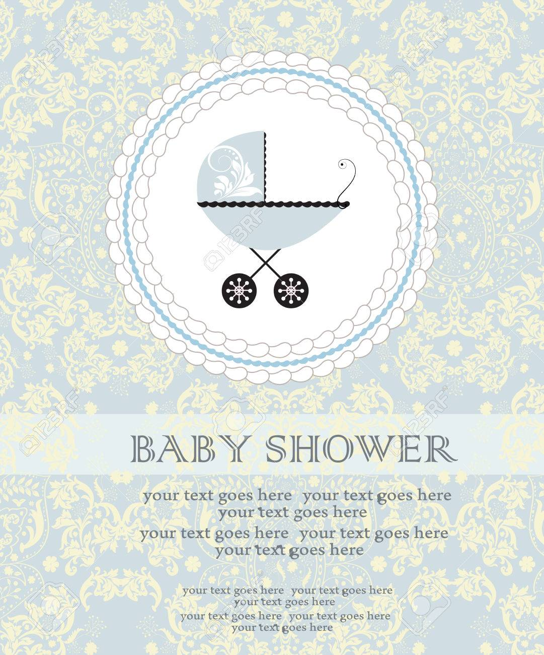 Vintage Baby Shower Invitation Card With Ornate Elegant Abstract ...
