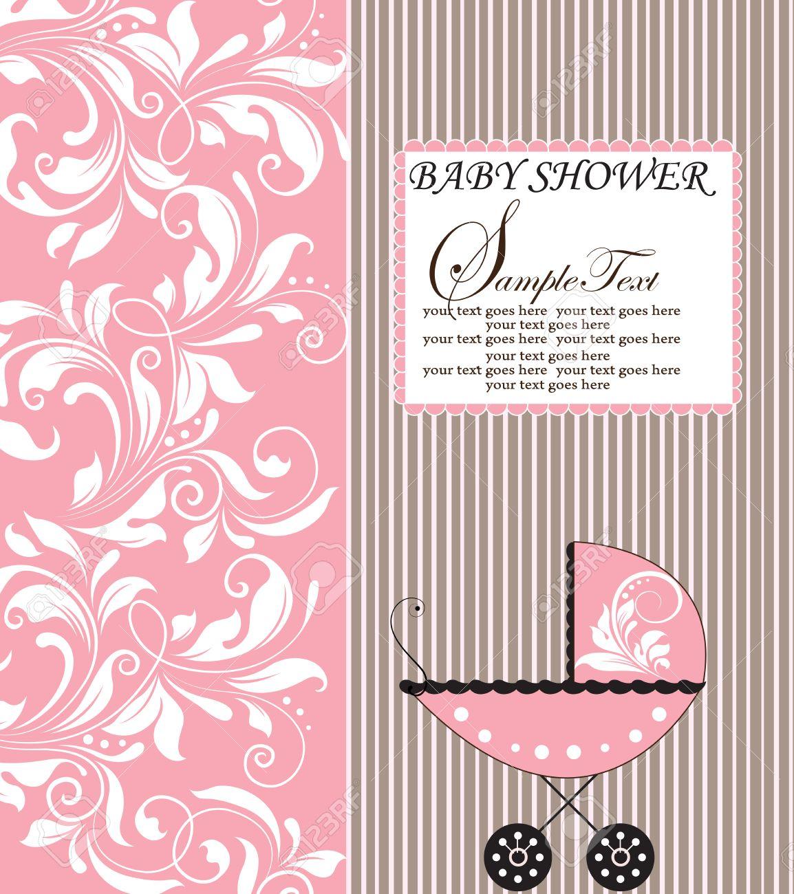 vintage baby shower invitation card with ornate elegant retro, Baby shower