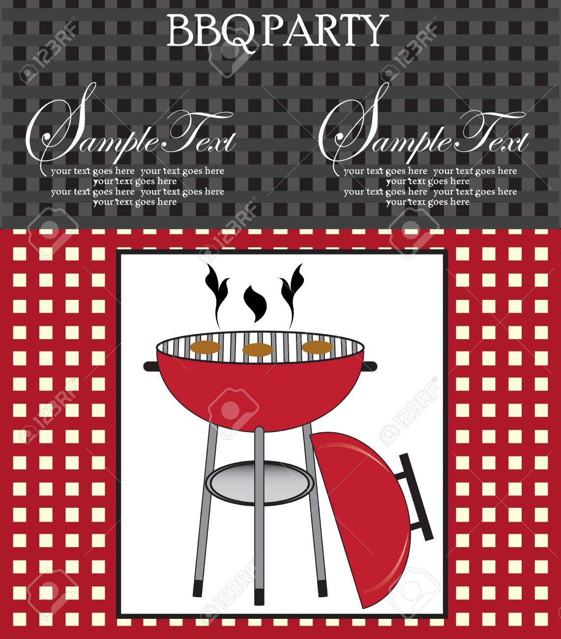 Vintage Barbecue Party Invitation Card With Abstract Weave Design ...