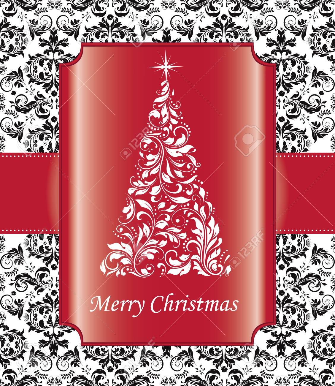 Vintage Christmas Card With Ornate Elegant Abstract Floral Design Royalty Free Cliparts Vectors And Stock Illustration Image 38130479
