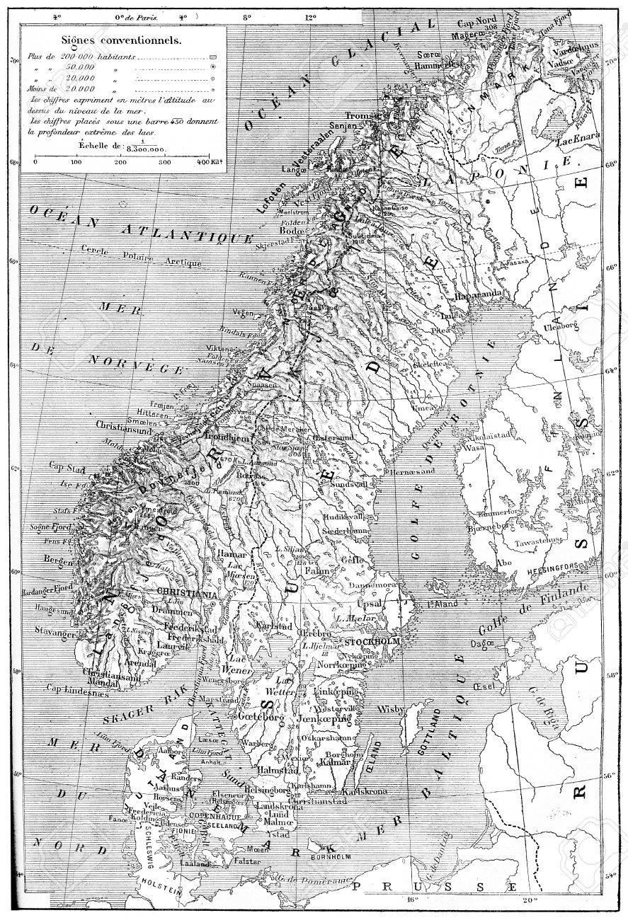 Karte Norwegen Dänemark.Stock Photo