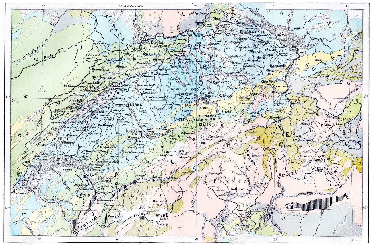 Topographische Karte Der Alpen Jahrgang Gravierte Darstellung
