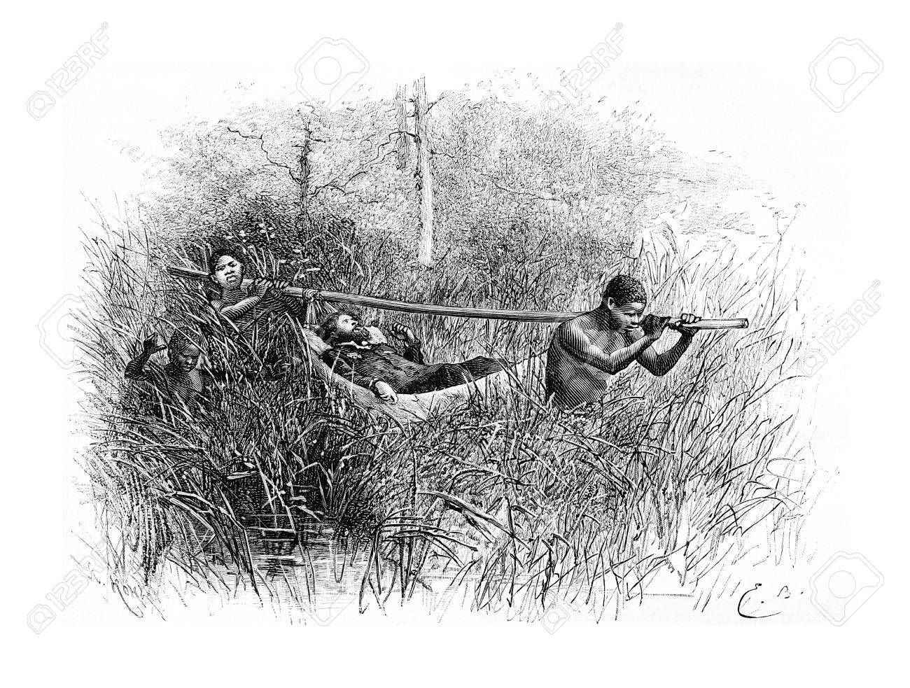 In the Swamp, in Angola, Southern Africa, drawing by Bayard based on a sketch by Serpa Pinto, vintage engraved illustration. Le Tour du Monde, Travel Journal, 1881 - 38440863