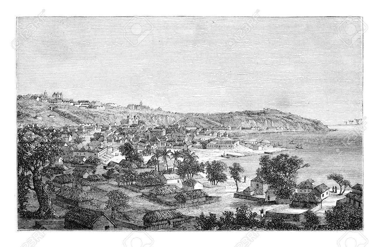 Luanda in Angola, Africa, drawing by Monteiro, vintage engraved illustration. Le Tour du Monde, Travel Journal, 1881 - 38440999