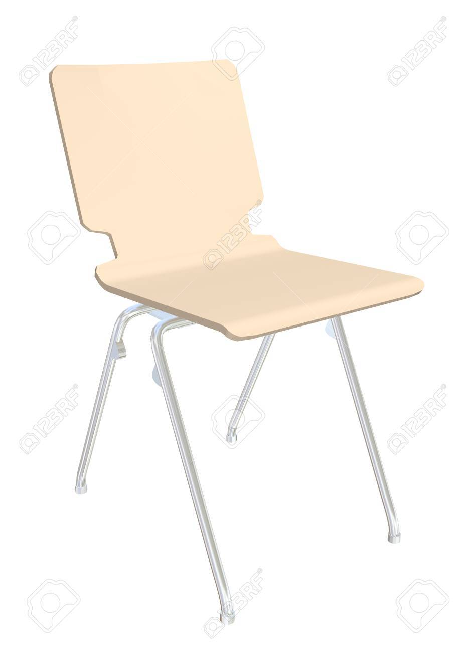 Plastic chair metal legs - Stackable Plastic Chair Cream Metal Legs 3d Illustration Isolated Against A White