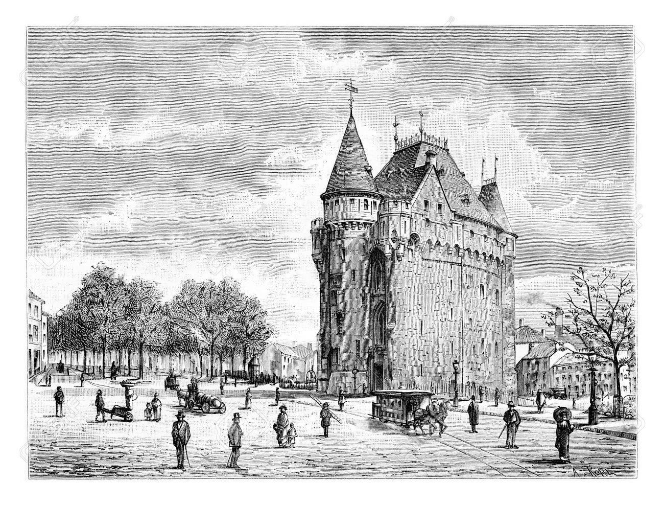 Porte De Hal In Brussels, Belgium, Drawing By Taelemans, Vintage  Illustration. Le