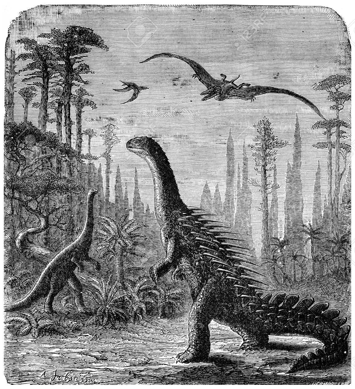 Dinosaurs, Stegosaurus and Compsognathus in an Araucaria landscape., vintage engraved illustration. Earth before man – 1886. - 39515528