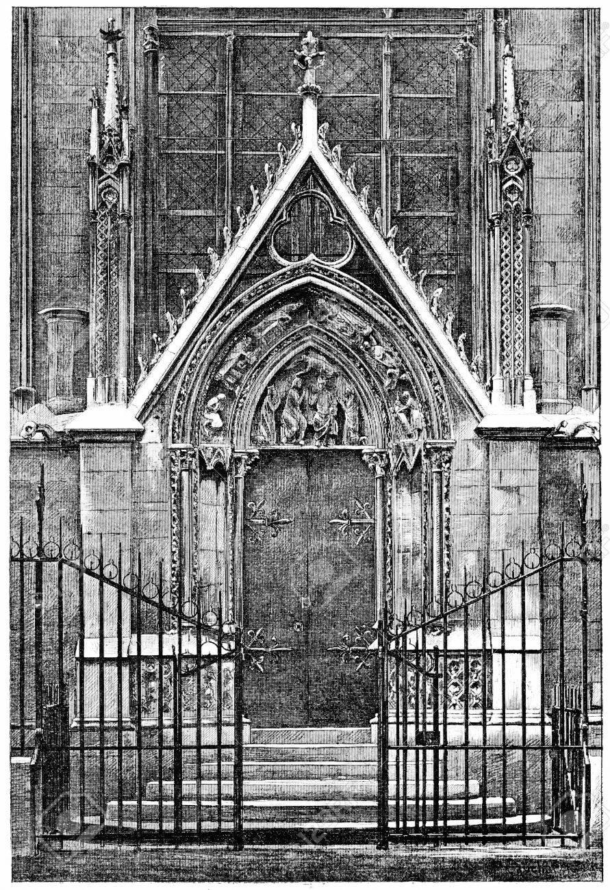 Porte Rouge Illustration Vintage Gravé Paris Auguste Vitu 1890