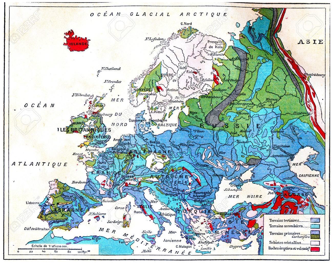 Geological Map Of Europe Vintage Engraved Illustration Earth