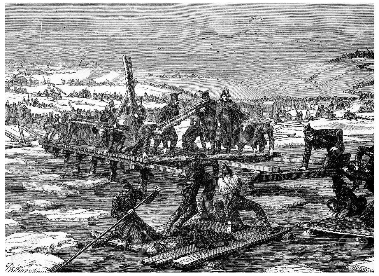 Construction De Ponts Sur La Berezina, Millésime Gravé Illustration. Histoire De France - 1885. Banque D'Images Et Photos Libres De Droits. Image 39823821.